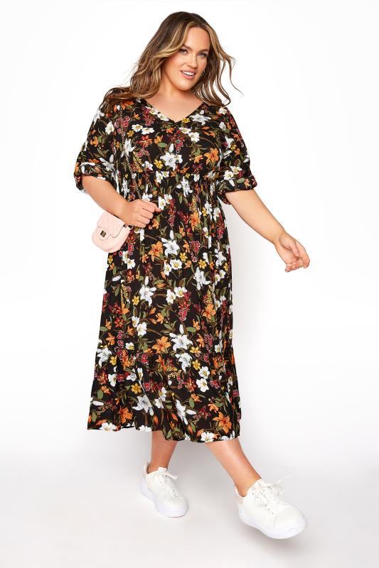 Schwarzes Florales Midi Kleid Mit Umgeschlagenen Armeln Yours Clothing