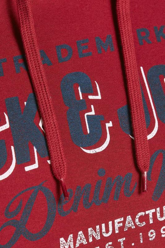 JACK & JONES Burgundy Logo Printed Hoodie_D.jpg