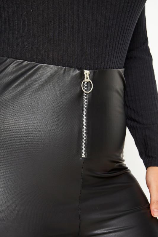 Black Ring Zip Leather Look Leggings