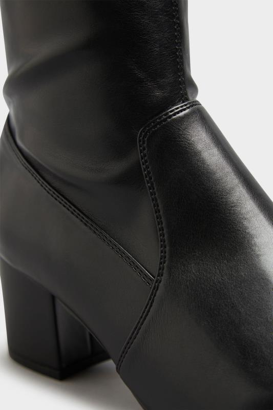 Black Faux Leather Stretch Knee Boots In Extra Wide Fit_D.jpg