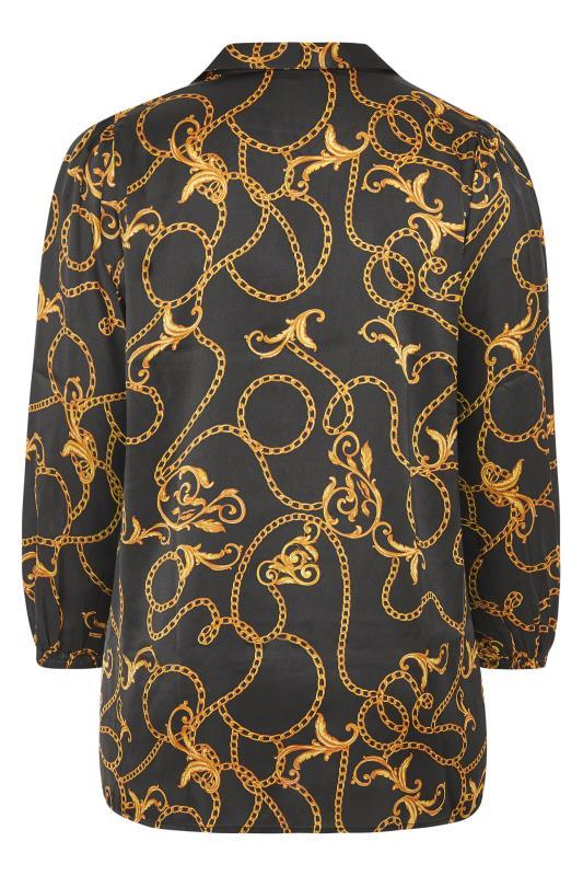 Black Chain Print Satin Balloon Sleeve Shirt