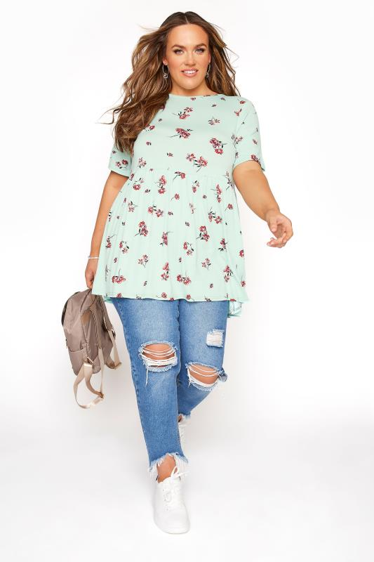 Mint Floral Peplum Top