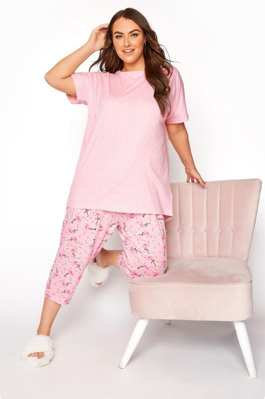 Pink Flamingo Printed Cropped Pyjama Set_B.jpg