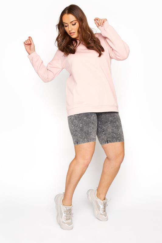 Plus Size  Grey Acid Wash Cycling Shorts