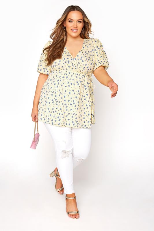 LIMITED COLLECTION Lemon Yellow Wrap Peplum Blouse