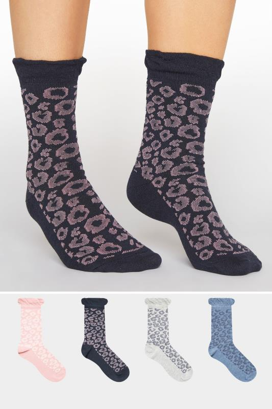 Yours Clothing Wide Fit Women/'s 4 Pack Black Animal Print Socks