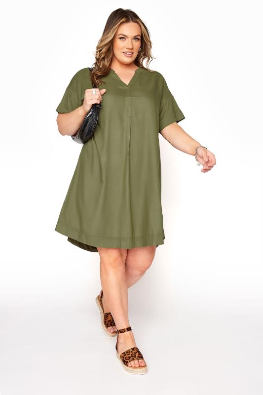 Plus Size  LIMITED COLLECTION Khaki Notch Neck Summer Throw On Dress