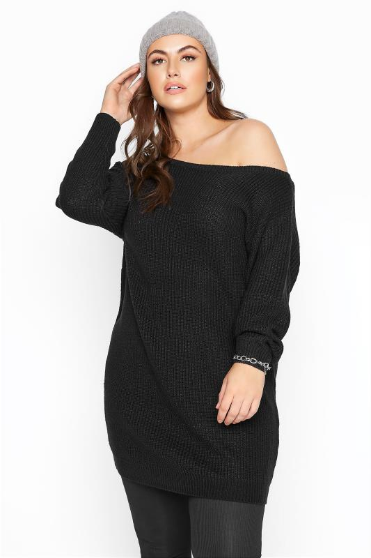 Tallas Grandes Black Bardot Knitted Jumper Dress