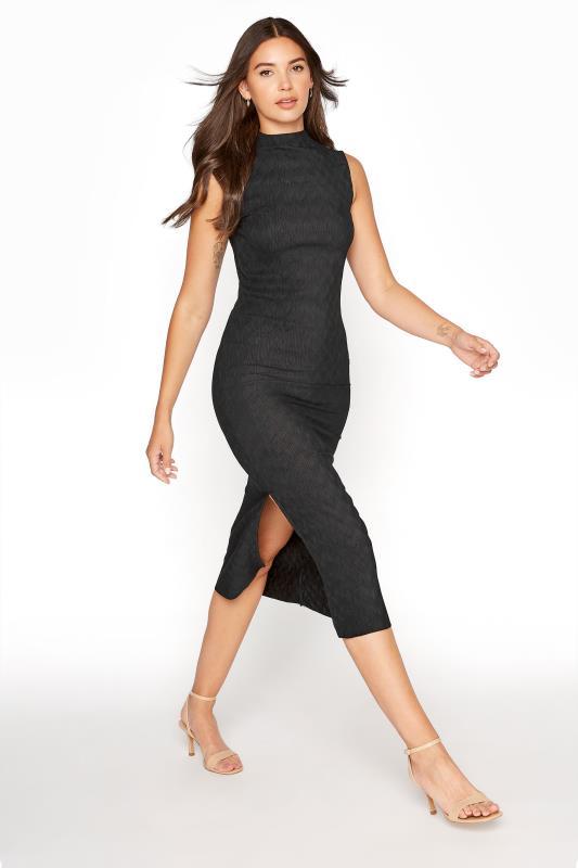 Black Plisse Midi Dress