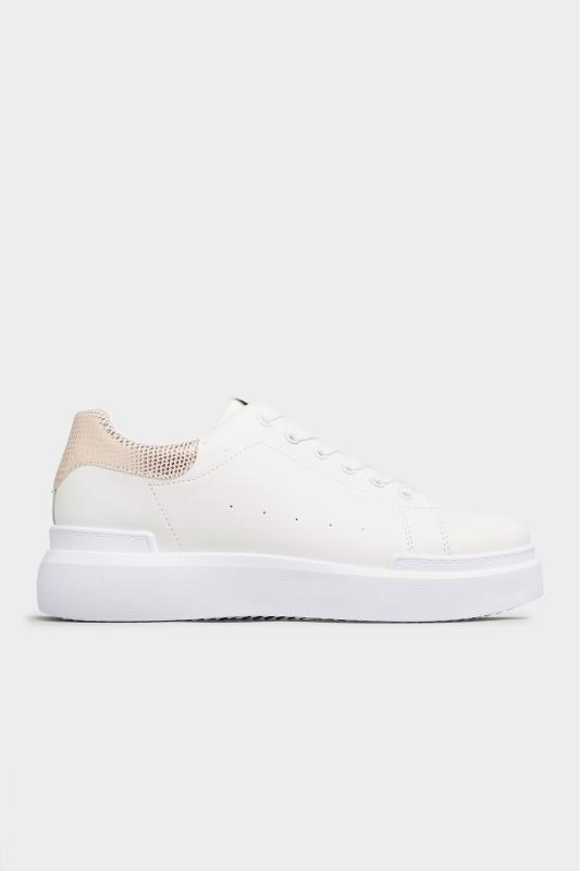 LIMITED COLLECTION White and Rose Gold Flatform Trainer In Wide Fit_B.jpg