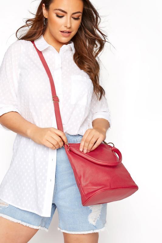 Red Dual Strap Zip Detail Shoulder Bag