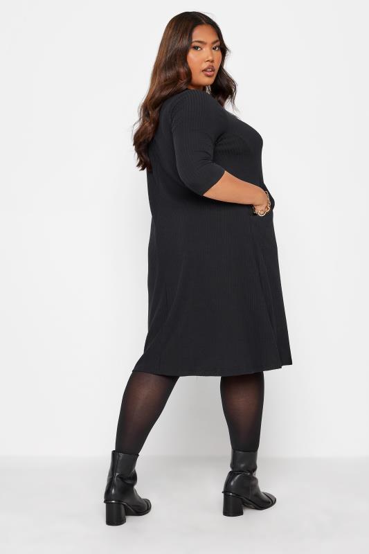 Black Ribbed Drape Pocket Dress_C.jpg