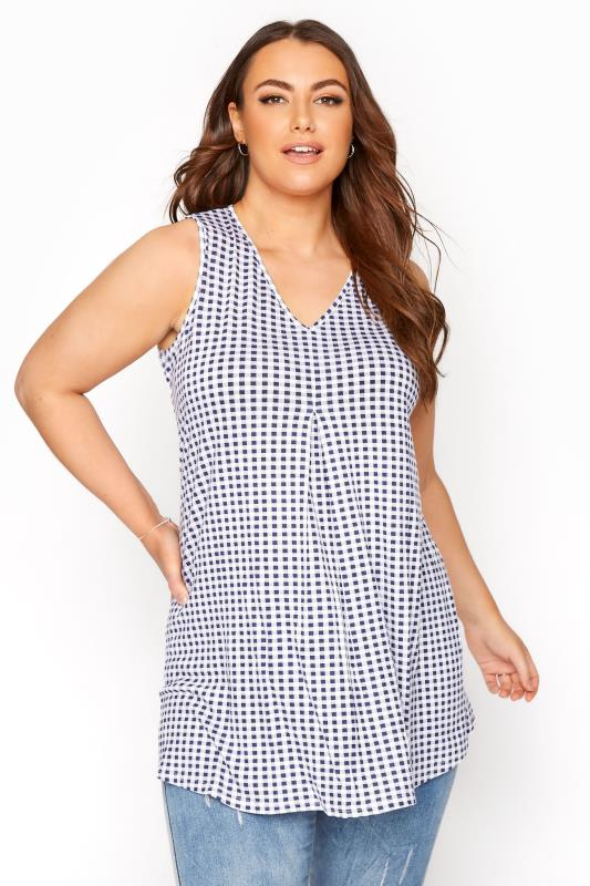 Plus Size  Blue Gingham Swing Vest Top