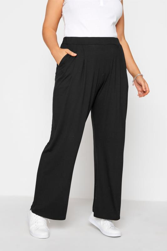 Plus Size  LIMITED COLLECTION Black Pleated Wide Leg Trousers