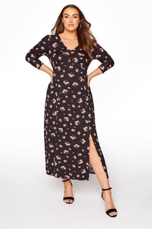 YOURS LONDON Black Floral Side Split Midaxi Dress_A.jpg