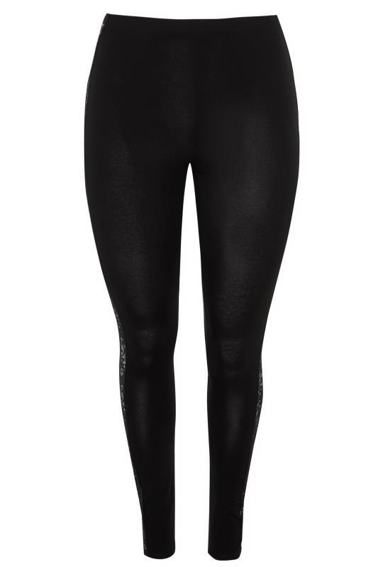 YOURS LONDON Black Panelled Floral Lace Leggings_BK.jpg