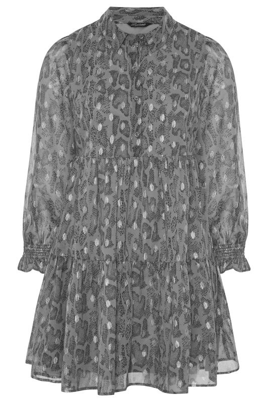LIMITED COLLECTION Grey Foil Snake Tiered Shirt Dress_F.jpg