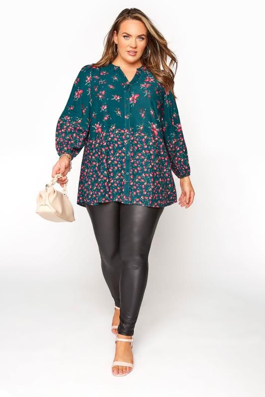 YOURS LONDON Green Floral Button Through Swing Blouse_B.jpg