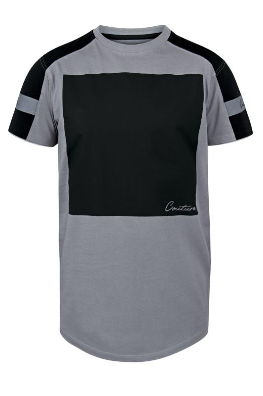 Plus Size  D555 Grey Couture Curved Hem Printed T-Shirt