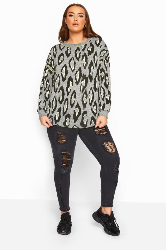LIMITED COLLECTION Grey Leopard Print Neon Trim Jumper