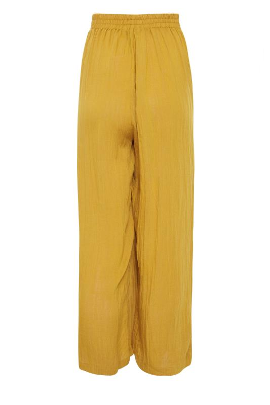 LTS Ochre Yellow Linen Blend Button Pleat Front Culottes_bk.jpg