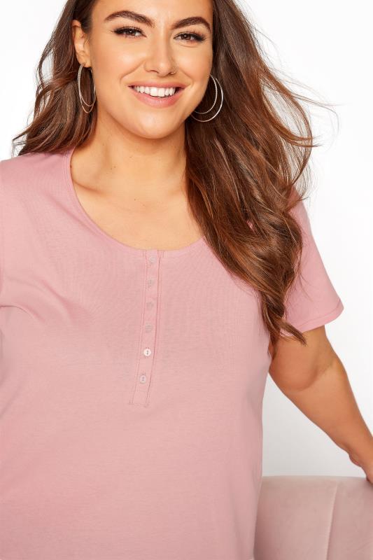 Pink Button Scoop Neck Pyjama Top_D.jpg