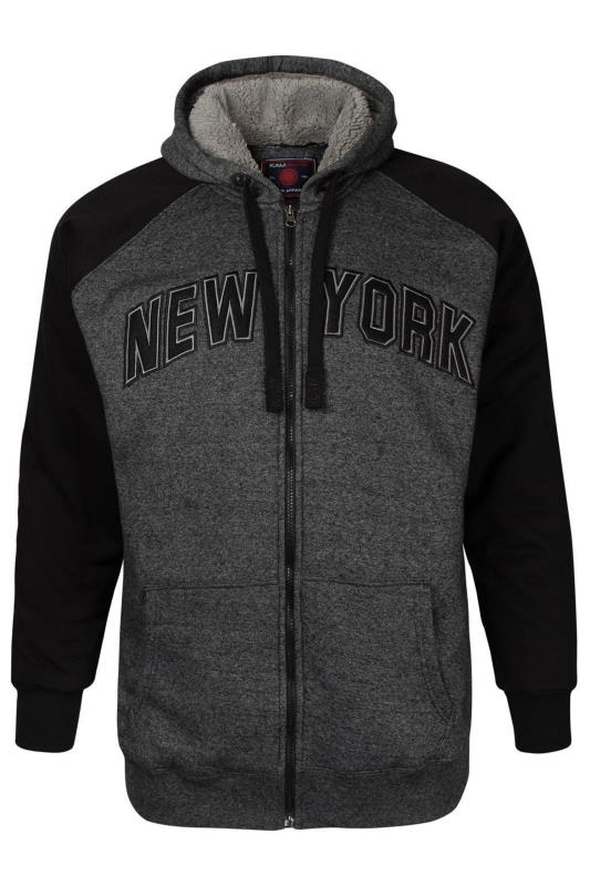 Plus Size Casual / Every Day KAM Charcoal Grey Fleece Lined NYC Zip Through Hoodie