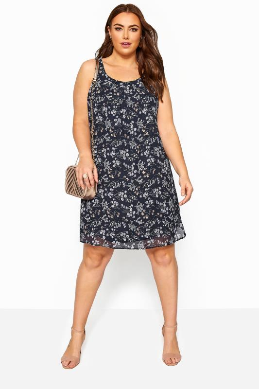 Plus Size Floral Dresses Navy Floral Chiffon Shift Dress