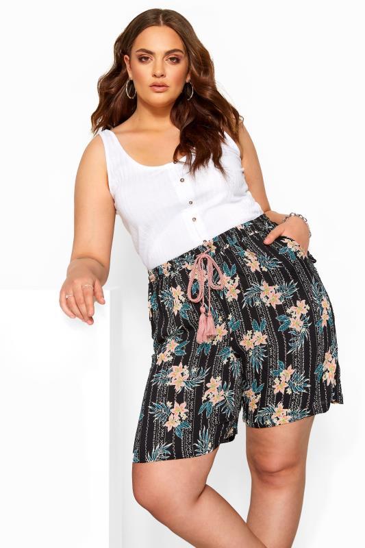 Black Floral Print Crinkle Shorts