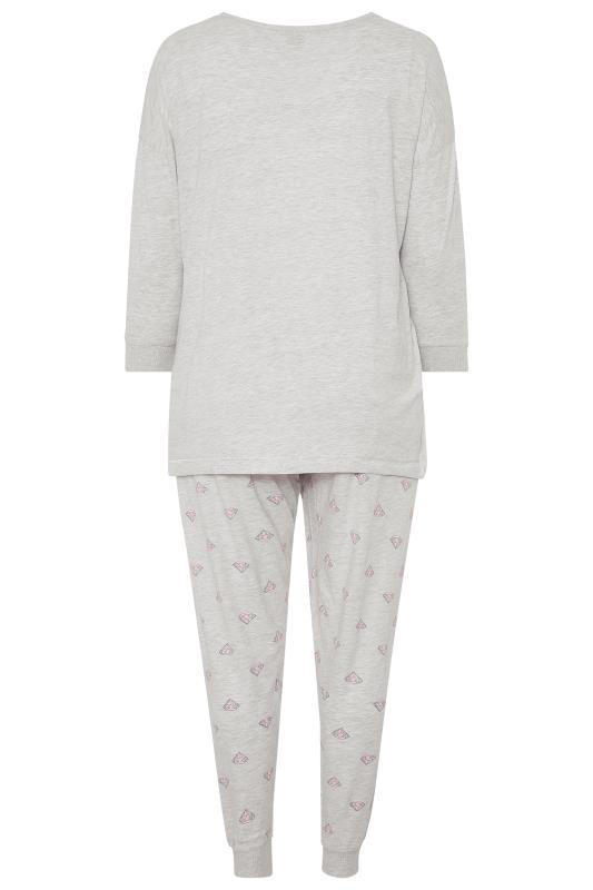 Grey & Pink Glitter Slogan Drawstring Pyjama Set