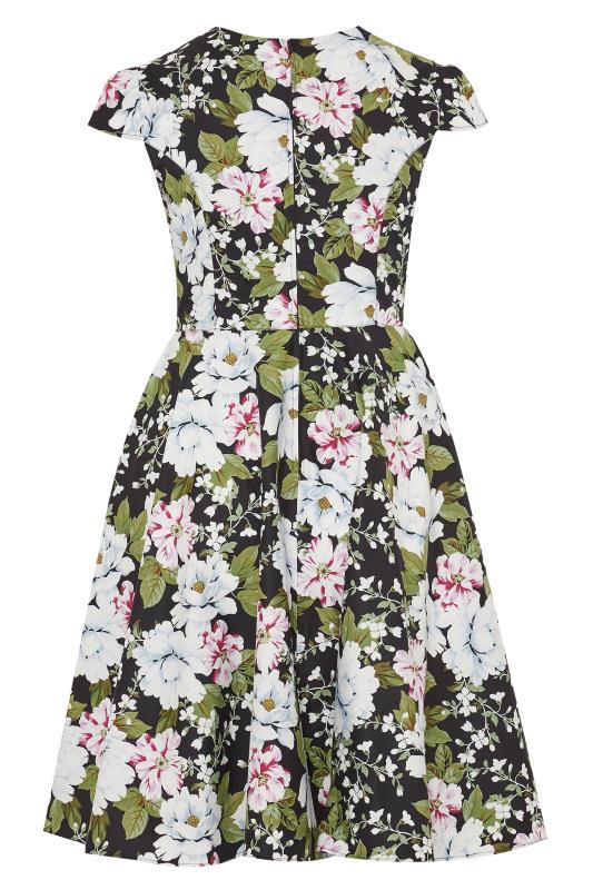 HELL BUNNY Black & White Floral Print 'Alba' Skater Dress