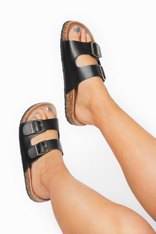 Plus Size  Black Buckle Strap Footbed Sandals In Extra Wide Fit