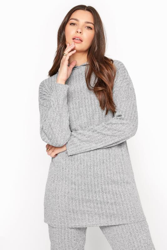 Tall  LTS Grey Ribbed Co-ord Hoodie