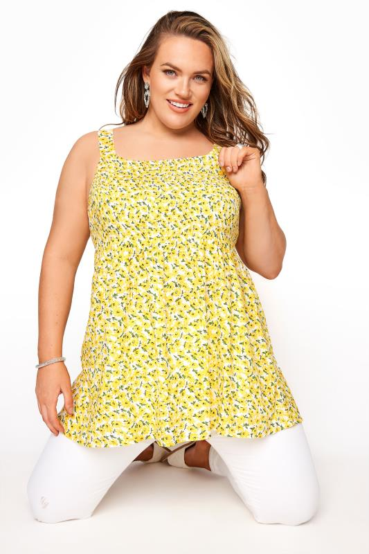 Plus Size  Yellow Floral Shirred Smock Vest Top