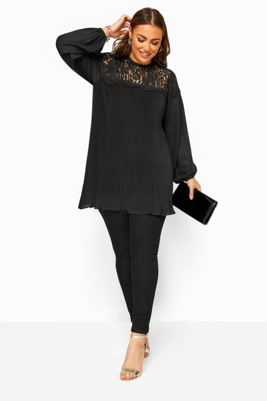 YOURS LONDON Black Lace Pleated Blouse