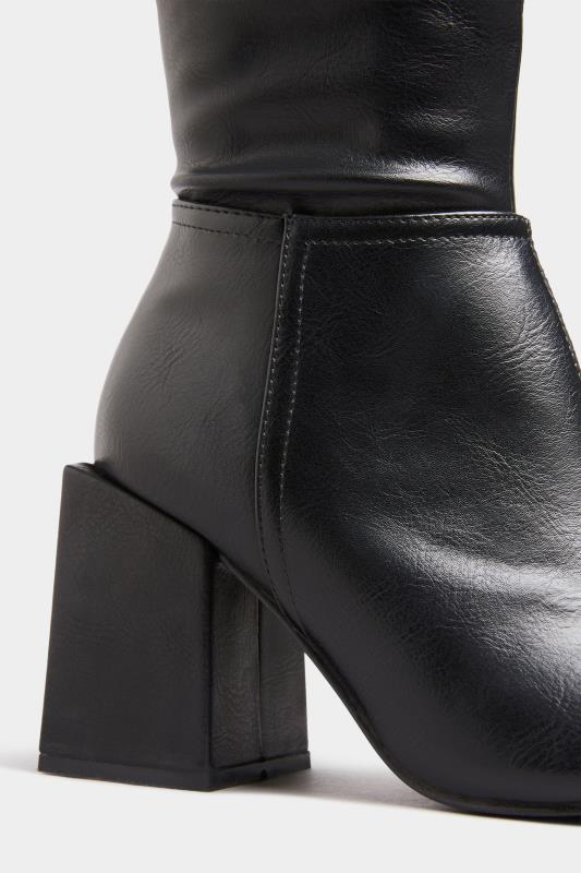 LIMITED COLLECTION Black Vegan Faux Leather Knee High Heeled Boots In Extra Wide Fit