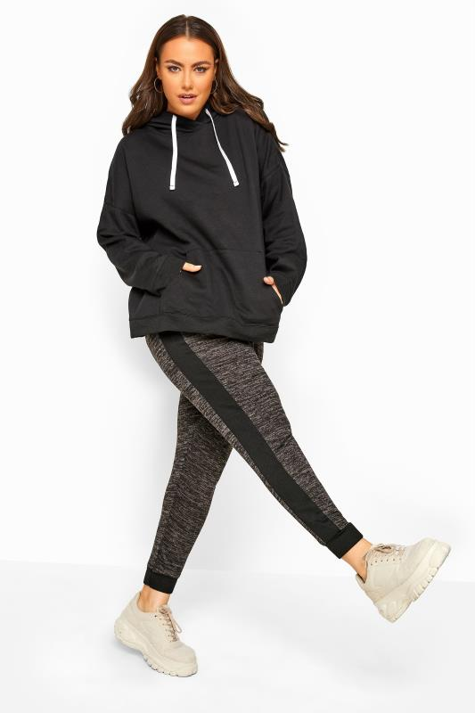 Plus Size Joggers Charcoal Marl Tape Joggers