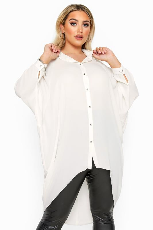 Großen Größen Shirts YOURS LONDON Cream Oversized Dipped Hem Shirt