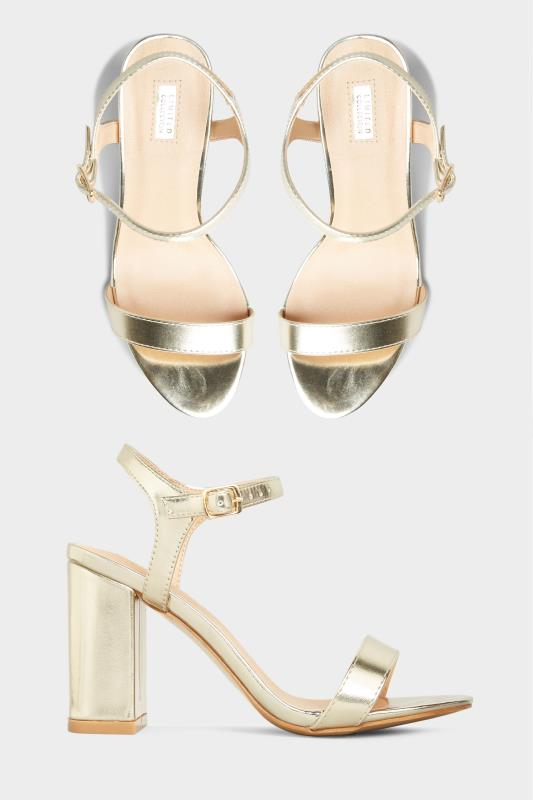 Yours LIMITED COLLECTION Gold Block Heeled Sandal In Extra Wide Fit