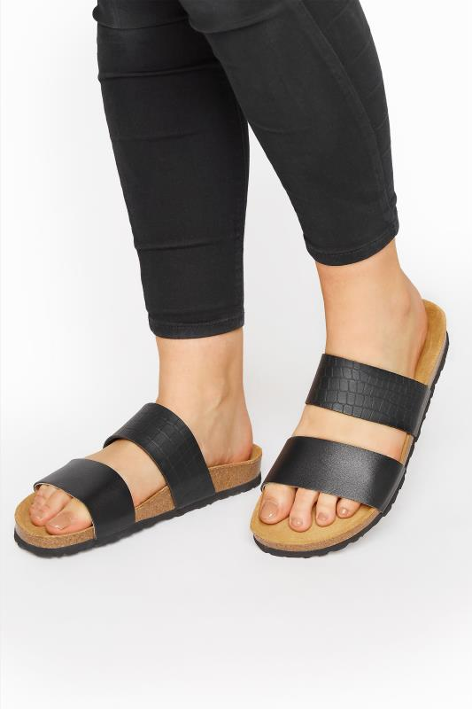 Black Leather Two Strap Footbed Sandals