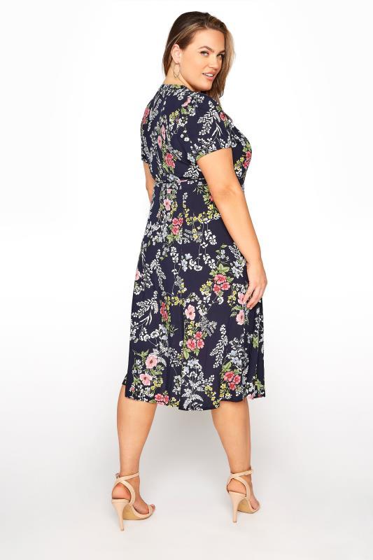 YOURS LONDON Navy Floral Wrap Midi Dress_C.jpg