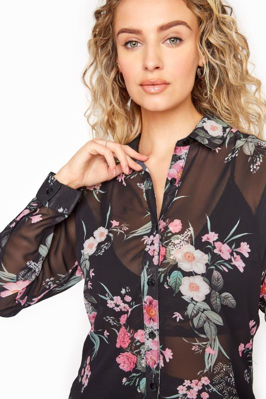 LTS Black Mixed Floral Longline Chiffon Shirt_D.jpg
