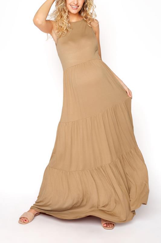 Tall  LTS Maternity Camel Tiered Maxi Dress