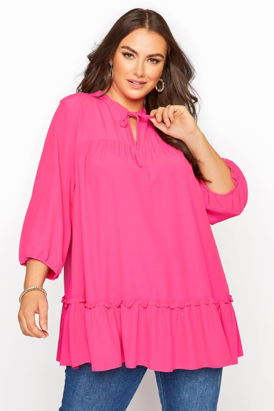 Plus Size  Bright Pink Tie Neck Ruffle Hem Tunic
