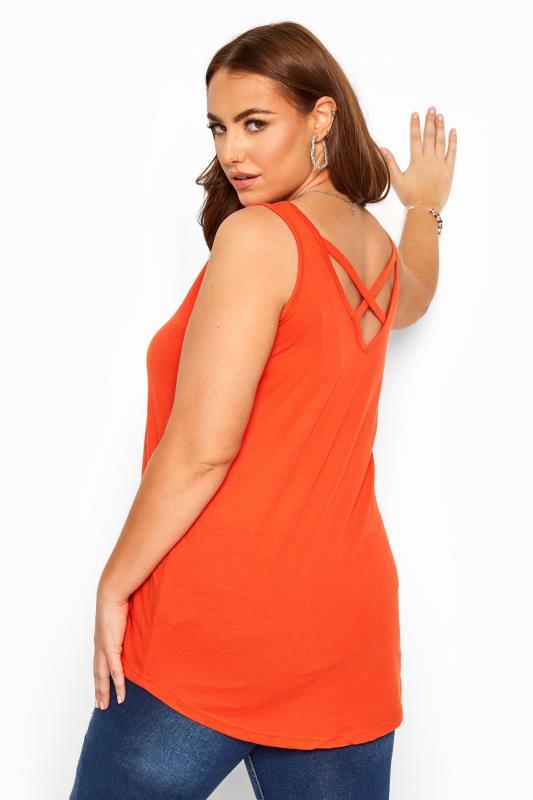 Plus Size  Orange Lattice Back Vest Top