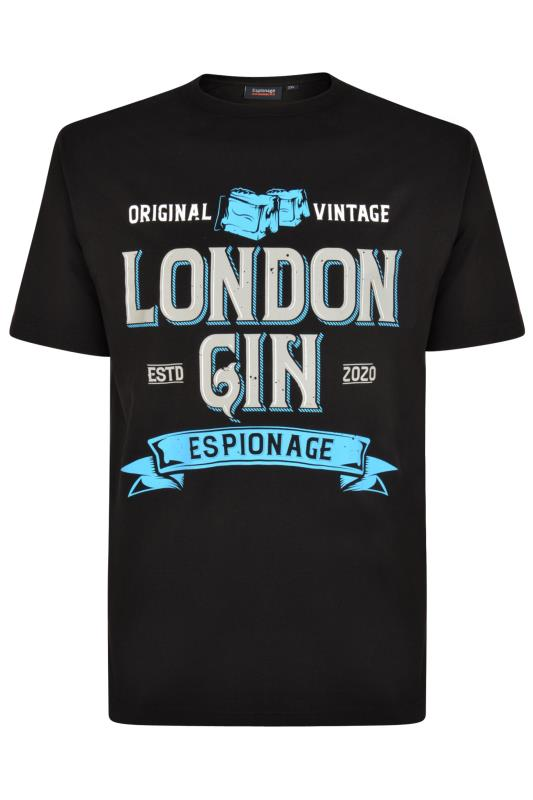 Plus Size Casual / Every Day ESPIONAGE Black London Gin Graphic Print T-Shirt