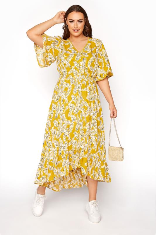 dla puszystych Mustard Yellow Palm Leaf Dipped Hem Dress