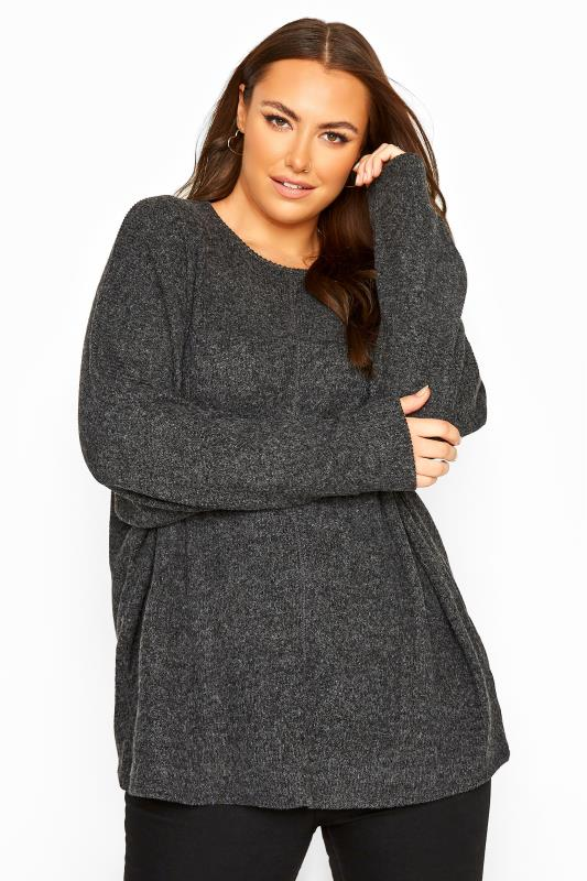Plus Size  Charcoal Grey Ribbed Batwing Knitted Top
