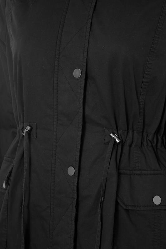 Black Faux Fur Trim Hooded Parka_S.jpg