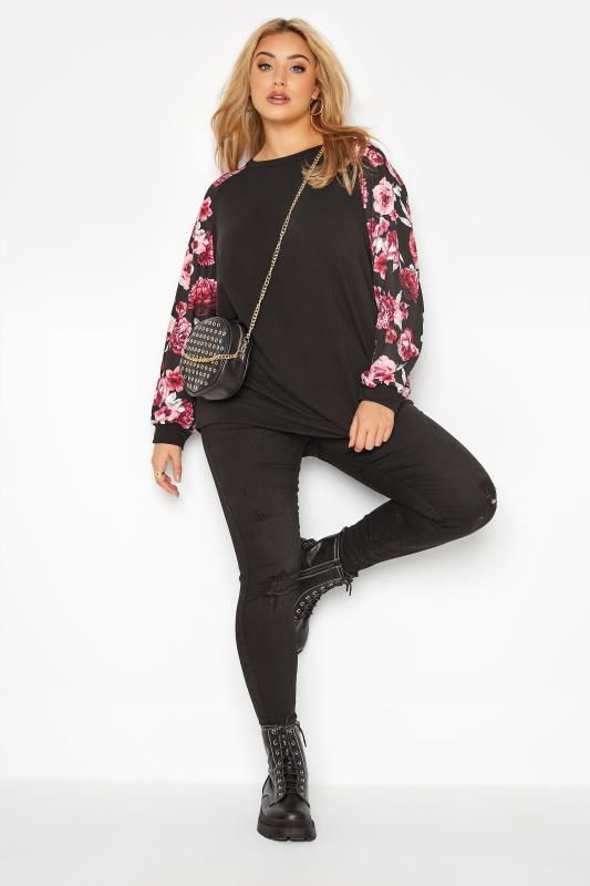 LIMITED COLLECTION Black Floral Raglan Sleeve Sweatshirt_B.jpg